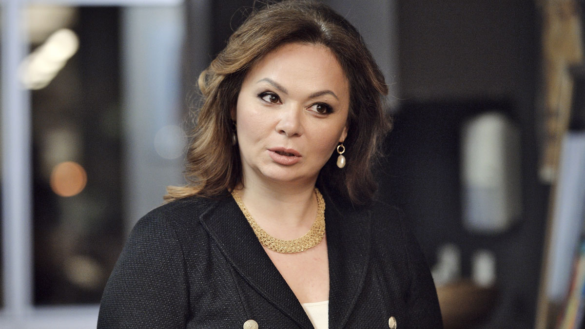 In this photo taken on Tuesday, Nov. 8, 2016, Kremlin-linked lawyer Natalia Veselnitskaya speaks to a journalist in Moscow, Russia. President Donald Trump's eldest son changed his account of the meeting he had with Veselnitskaya during the 2016 campaign over the weekend.
