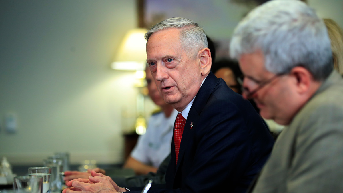 Defense Secretary Jim Mattis speaks during his meeting with Italy's Defense Minister Roberta Pinotti, Tuesday, July 11, 2017, at the Pentagon.