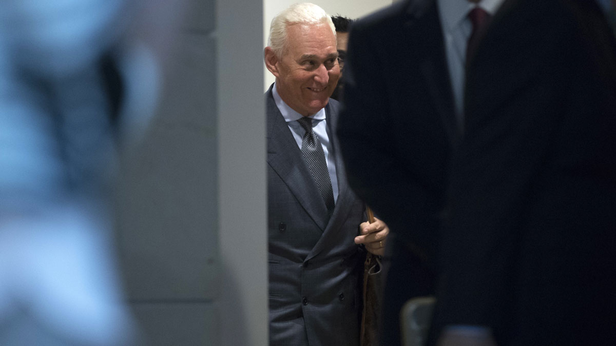 This Sept. 26, 2017, file photo shows longtime Donald Trump associate Roger Stone depart after testifying before the House Intelligence Committee on Capitol Hill in Washington.