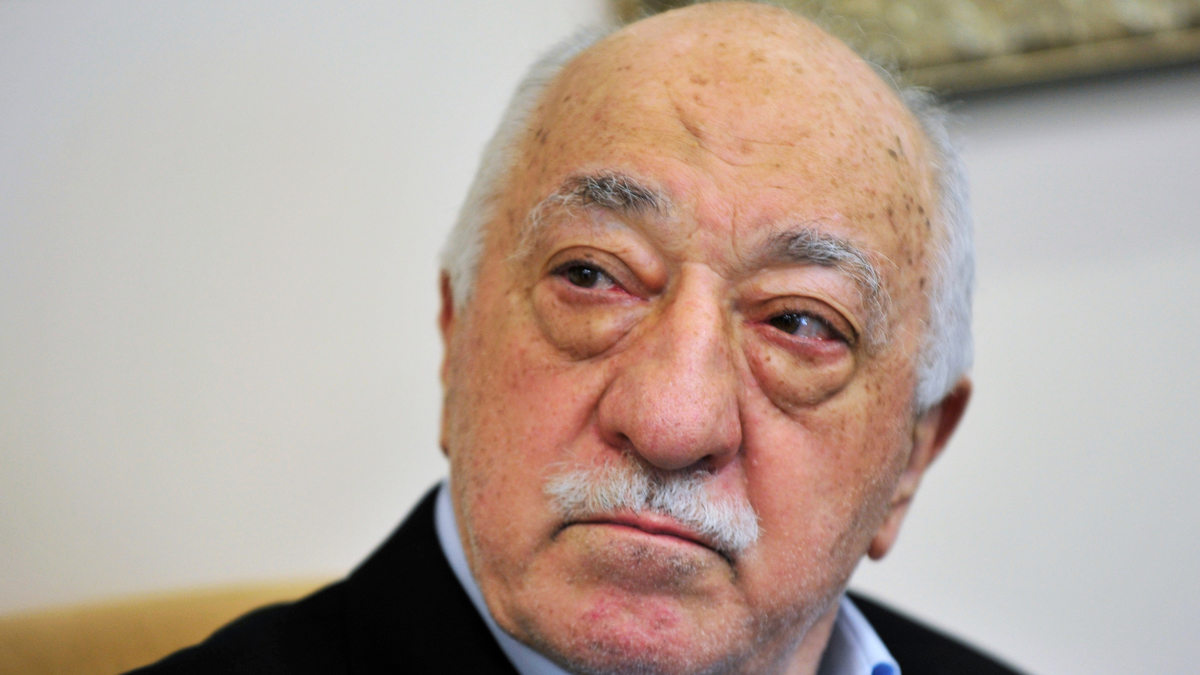 In this July 2016 file photo, Islamic cleric Fethullah Gulen speaks to members of the media at his compound, in Saylorsburg, Pa.