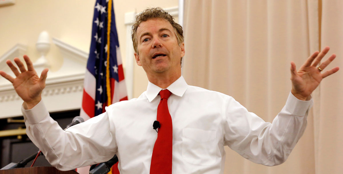 Republican presidential candidate Sen. Rand Paul, R-Ky., speaks during a campaign stop at the Republican Liberty Caucus, Friday, Oct. 9, 2015, in Nashua , N.H.