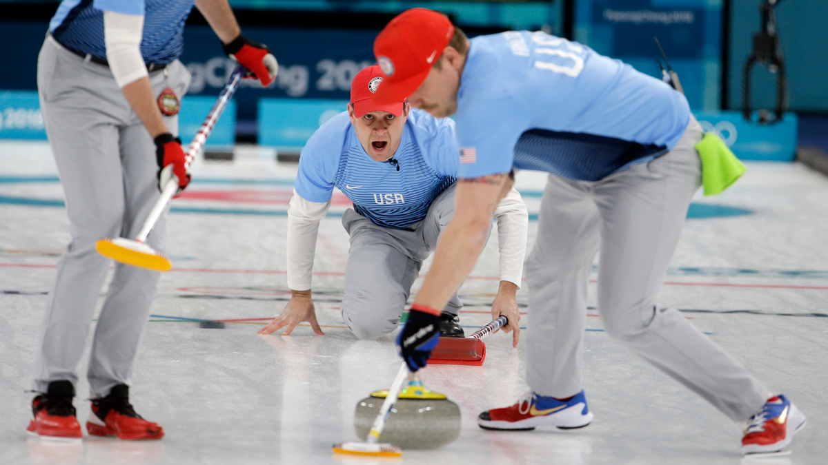 United States's skip John Shuster, center, makes a call during the men's final curling match against Sweden at the 2018 Winter Olympics in Gangneung, South Korea, Saturday, Feb. 24, 2018.