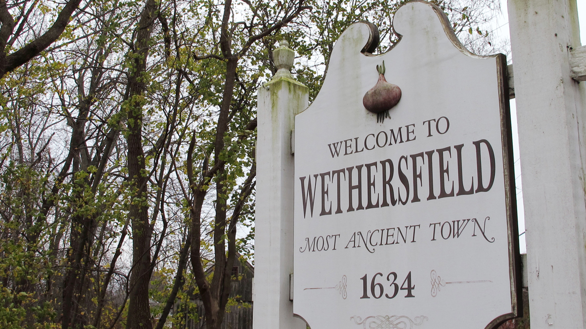 In this Thursday, Nov. 15, 2018, photo a sign declares Wethersfield, Conn., the state's