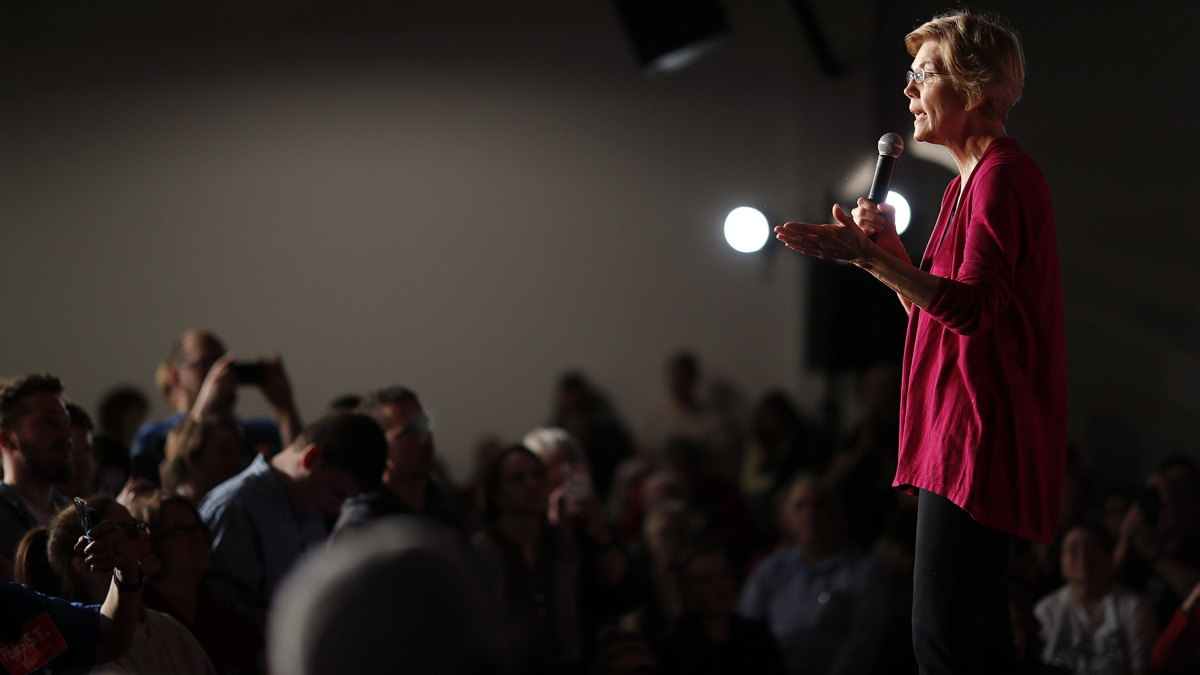 Sen. Elizabeth Warren, D-Mass, speaks during an organizing event at Curate event space in Des Moines, Iowa, Saturday, Jan. 5, 2019. Her Iowa debut, beginning Friday evening and continuing across the state Saturday, offered the first glimpse of what she may look like as a 2020 candidate.