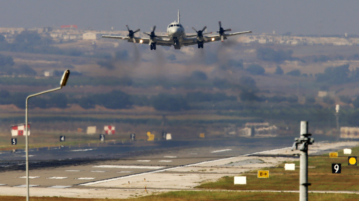 A United States Navy aeroplane about to land at the Incirlik Air Base, in the outskirts of the city of Adana, southern Turkey, Wednesday, July 29, 2015.