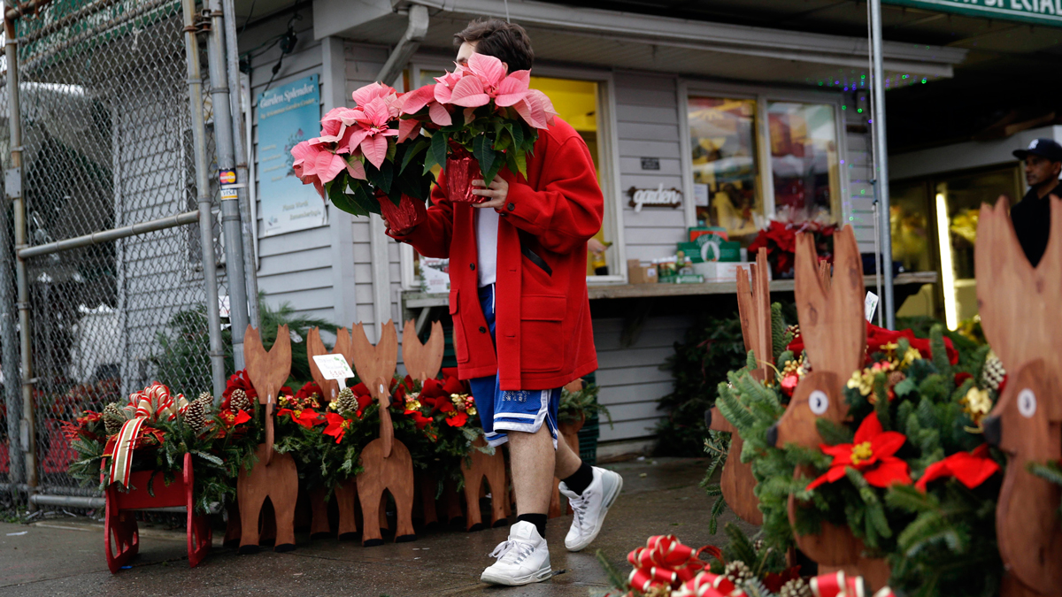 Russ Cirincione buys flowers in New York, Thursday, Dec. 24, 2015, on a day of record temperatures. The weather topped the charts again on Christmas.