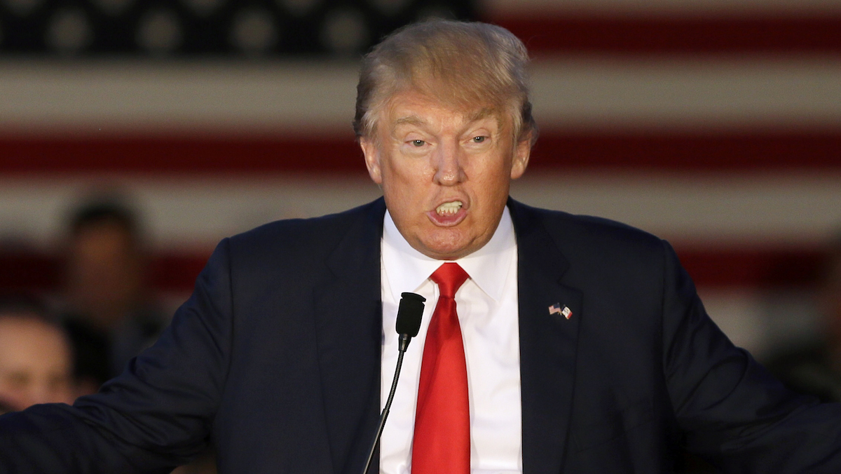 In this file photo, Republican presidential candidate, businessman Donald Trump speaks during a rally at Urbandale High School, Saturday, Sept. 19, 2015, in Urbandale, Iowa.