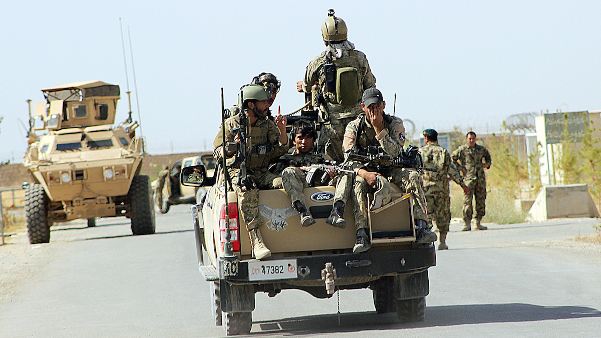 Afghan officials said troops were able to push the Taliban out of the city of Kunduz after insurgents captured a fort on Wednesday Sept. 29, 2015.