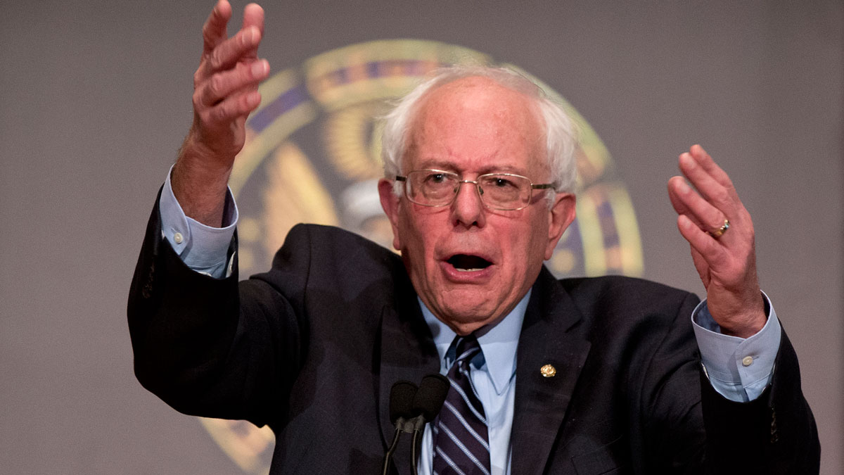 Democratic presidential candidate Sen. Bernie Sanders, I-Vt., speaks at Georgetown University in Washington, Thursday, Nov. 19, 2015, about the meaning of