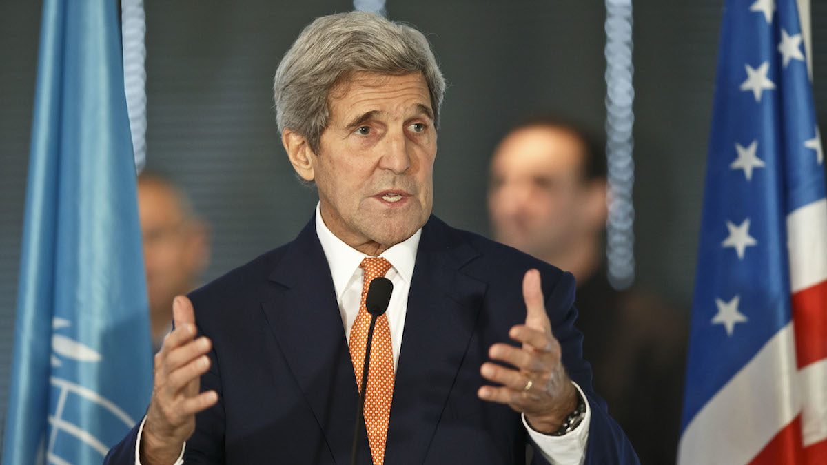 U.S. Secretary of State John Kerry delivers a speech during a luncheon at the UNESCO in Paris, France, Sunday, Oct. 18, 2015.