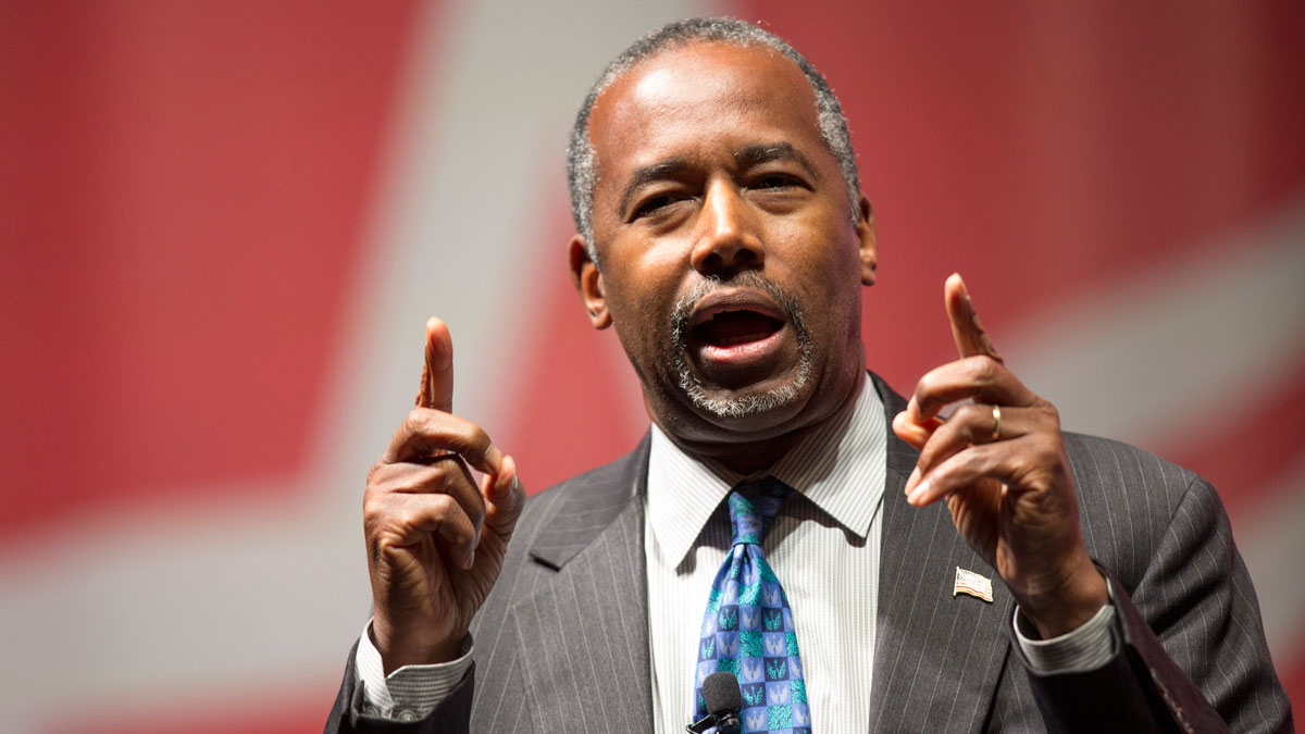 FILE - In this Dec. 5, 2015 file photo, Republican presidential candidate Ben Carson speaks in Cedar Rapids, Iowa.