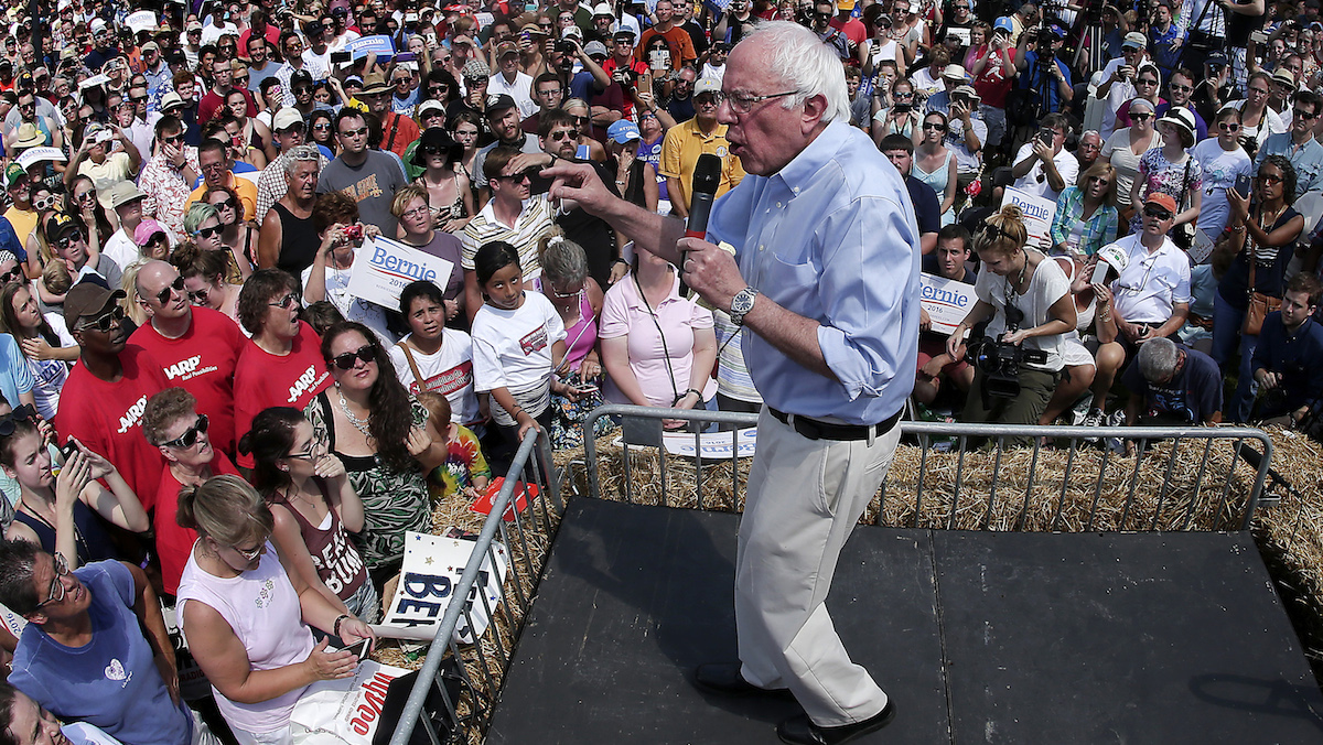 Democratic presidential candidate Sen. Bernie Sanders, I-Vt., speaks at the Iowa at the Iowa State Fair Saturday, Aug. 15, 2015, in Des Moines.