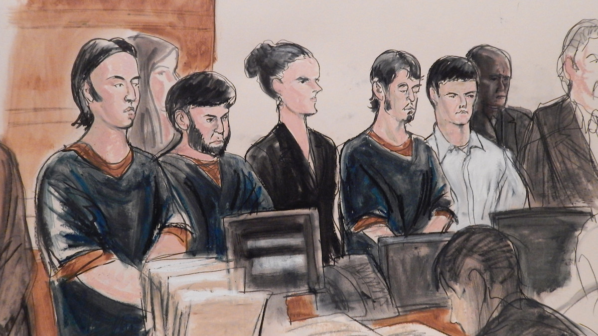 In this courtroom sketch, the four men accused of plotting to send U.S. residents overseas to fight for the Islamic State, Akhror Saidakhmetov, left, Abror Habibov, second from left, Abdurasul Hasanovich Juraboev, fourth from left, and Dilkhayot Kasimov, fifth from left, appear in a New York City courtroom Wednesday, April 8, 2015. The four men, all immigrants from the former Soviet republics of Uzbekistan and Kazakhstan — entered not guilty pleas through their attorneys to a revised indictment filed this week that added Kasimov as a defendant. The three others were first charged last month.