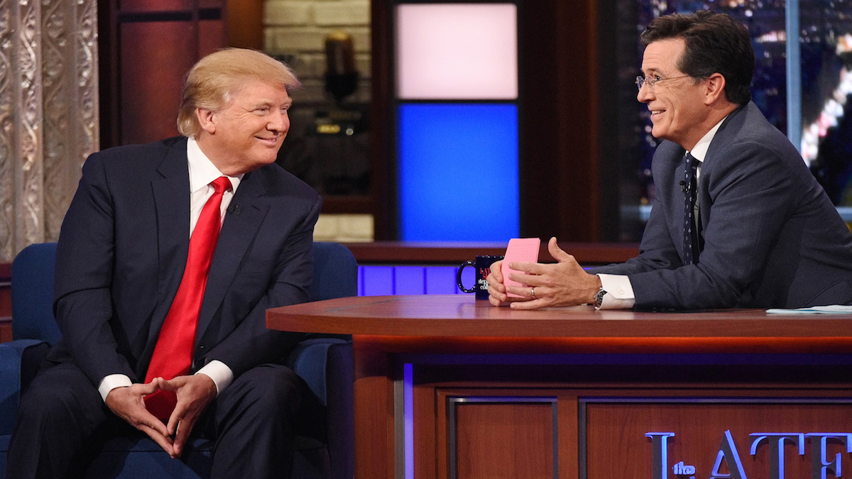 """In this photo provided by CBS, Republican presidential candidate Donald Trump, left, joins host Stephen Colbert on """"The Late Show with Stephen Colbert,"""" Tuesday, Sept. 22, 2015, in New York."""