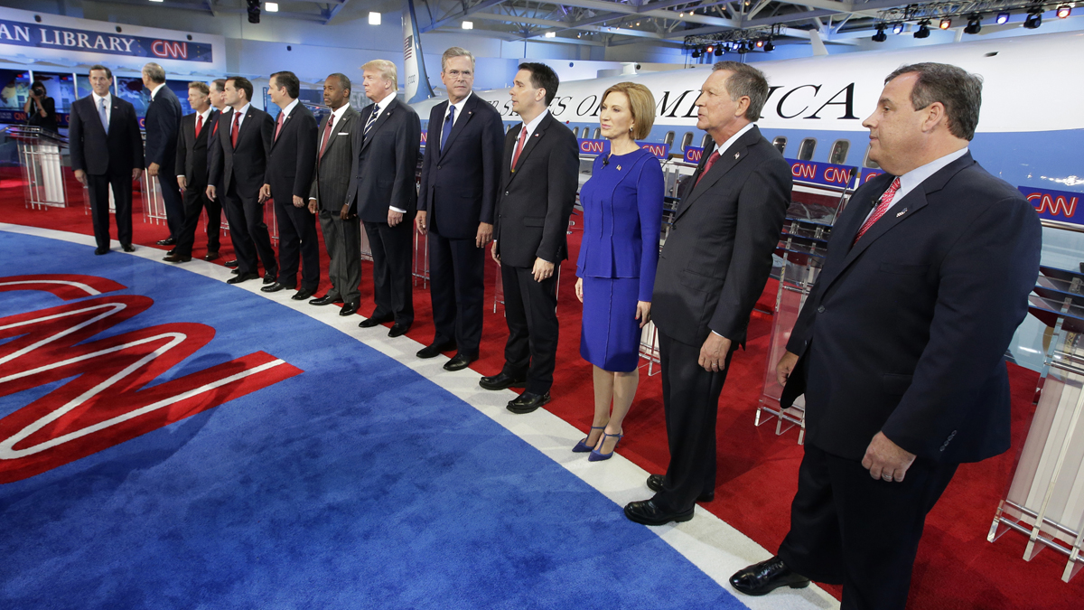 Republican presidential candidates at the party's last presidential debate, hosted by CNN on Wednesday, Sept. 16, 2015, in Simi Valley, Calif.
