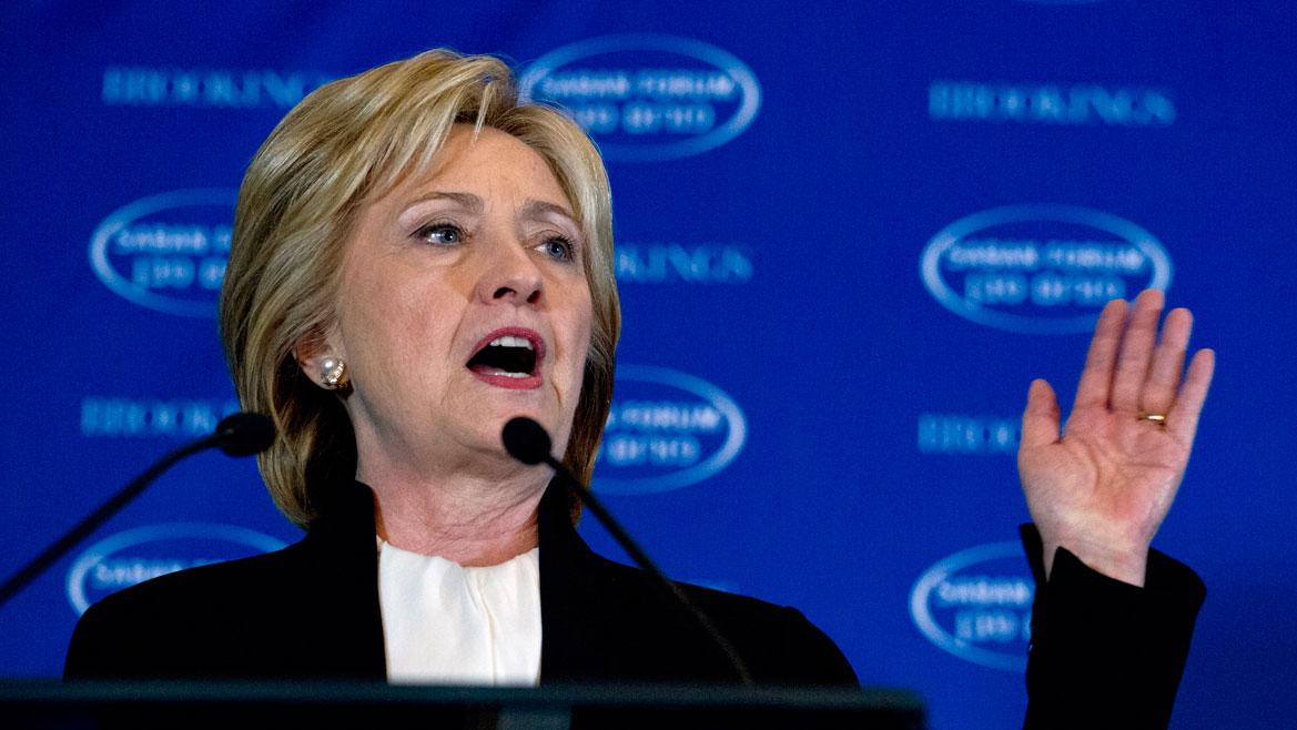 Democratic presidential candidate Hillary Clinton speaks at Saban Forum 2015 in Washington, Sunday, Dec. 6, 2015.