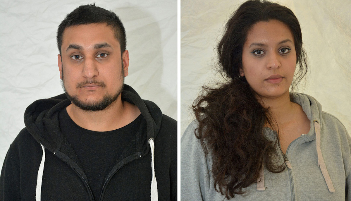 This photo provided by Thames Valley Police shows  Mohammed Rehman, left and his wife Sana Ahmed Khan. A husband and wife interested in helping Islamic State extremists have been convicted of planning a large-scale bombing of civilian targets in London to mark the 10th anniversary of the July 7, 2005, attacks on the city's transit system. Rehman, 25, and his wife Ahmed Khan, 24, were found guilty Tuesday, Dec. 29, 2015 at the Old Bailey court.