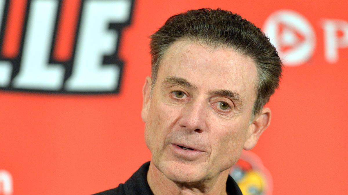 Louisville head coach Rick Pitino responds to a question following an NCAA college basketball team's intrasquad scrimmage Saturday, Oct. 3, 2015, in Louisville, Kentucky.