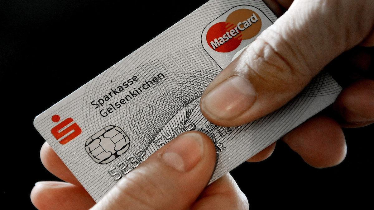 FILE - In this Nov. 18, 2009 file photo, a Mastercard chip-based credit card is posed for a photo in Gelsenkirchen, Germany.