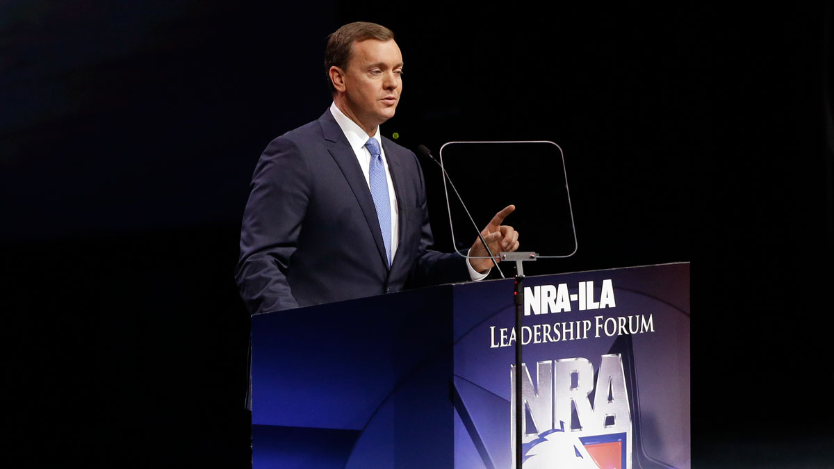 National Rifle Association executive director Chris W. Cox speaks at the National Rifle Association convention Saturday, May 21, 2016, in Louisville, Kentucky.