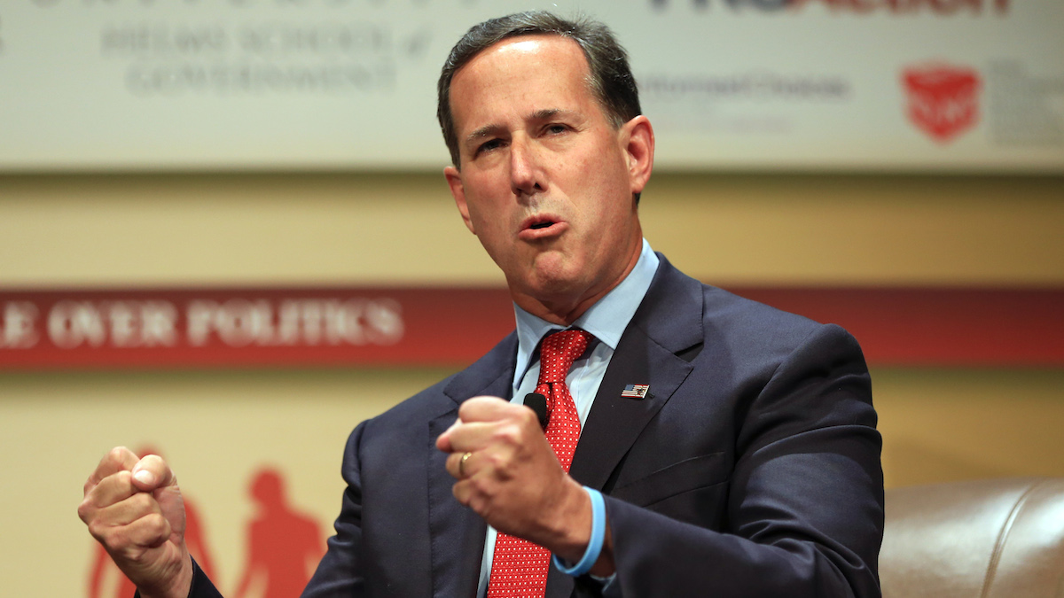 In this July 18, 2015, file photo, Republican presidential candidate, former Pennsylvania Sen. Rick Santorum, speaks at the Family Leadership Summit in Ames, Iowa.