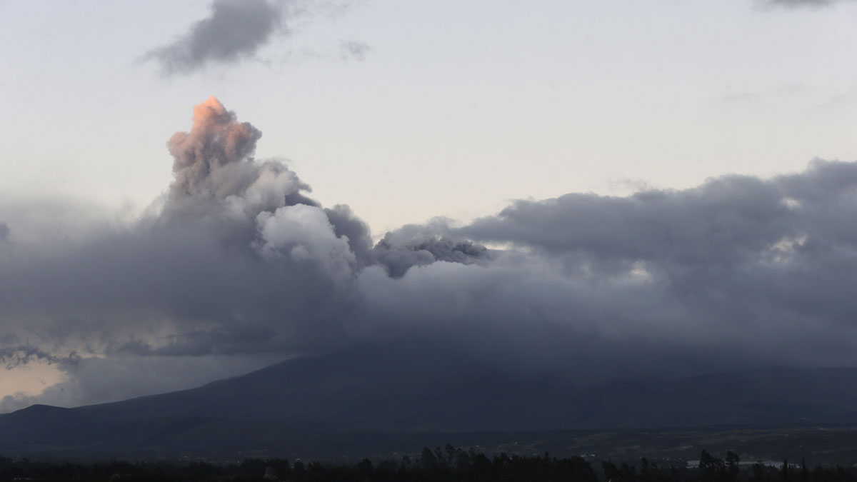 A view of Cotopaxi volcano spewing ashes as seen from Latacunga, Ecuador, Saturday, Aug. 15, 2015.  The Cotopaxi volcano near Ecuador's capital has spewed ash over a wide area in pre-dawn blasts. The volcano is considered one of the world's most dangerous volcanoes due to a glacial cover that makes it prone to mud flows and its proximity to a heavily populated area, but government scientists say that the snow-capped volcano doesn't seem to be on the verge of a major eruption. Its last major eruption was in 1877.