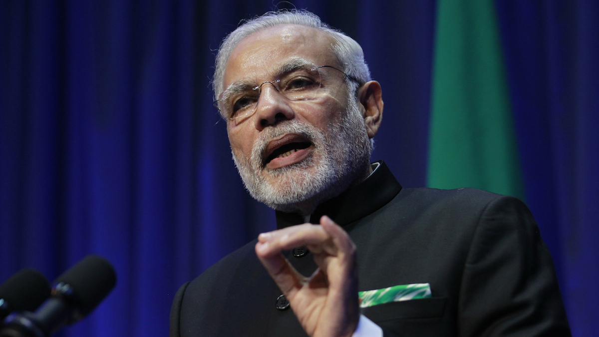 Indian Prime Minister Narendra Modi speaks during a joint press conference with Irish Prime Minister Enda Kenny at Government Buildings, Dublin, Ireland, Wednesday, Sept. 23, 2015.