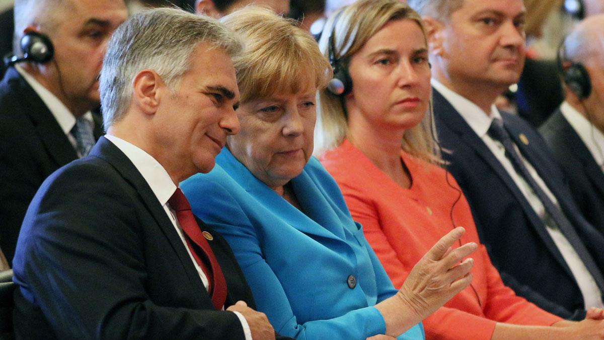 Austrian Chancellor Werner Faymann, and German Chancellor Angela Merkel.