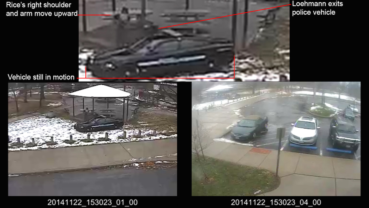 This combination of still images taken from a surveillance video and released Saturday, Nov. 28, 2015, by the Cuyahoga County Prosecutor's Office, shows Cleveland police officers arriving at Cudell Park on a report of a man with a gun. Twelve-year-old Tamir Rice was fatally shot by Cleveland police officer Timothy Loehmann, Nov. 22, 2014, after he reportedly pulled a replica gun at the city park. The enhancement by a California video expert will be presented to a grand jury that will decide if then-rookie patrolman Loehmann or his training officer should be charged criminally for Loehmann killing Rice. (Cuyahoga County Prosecutor's Office via AP)