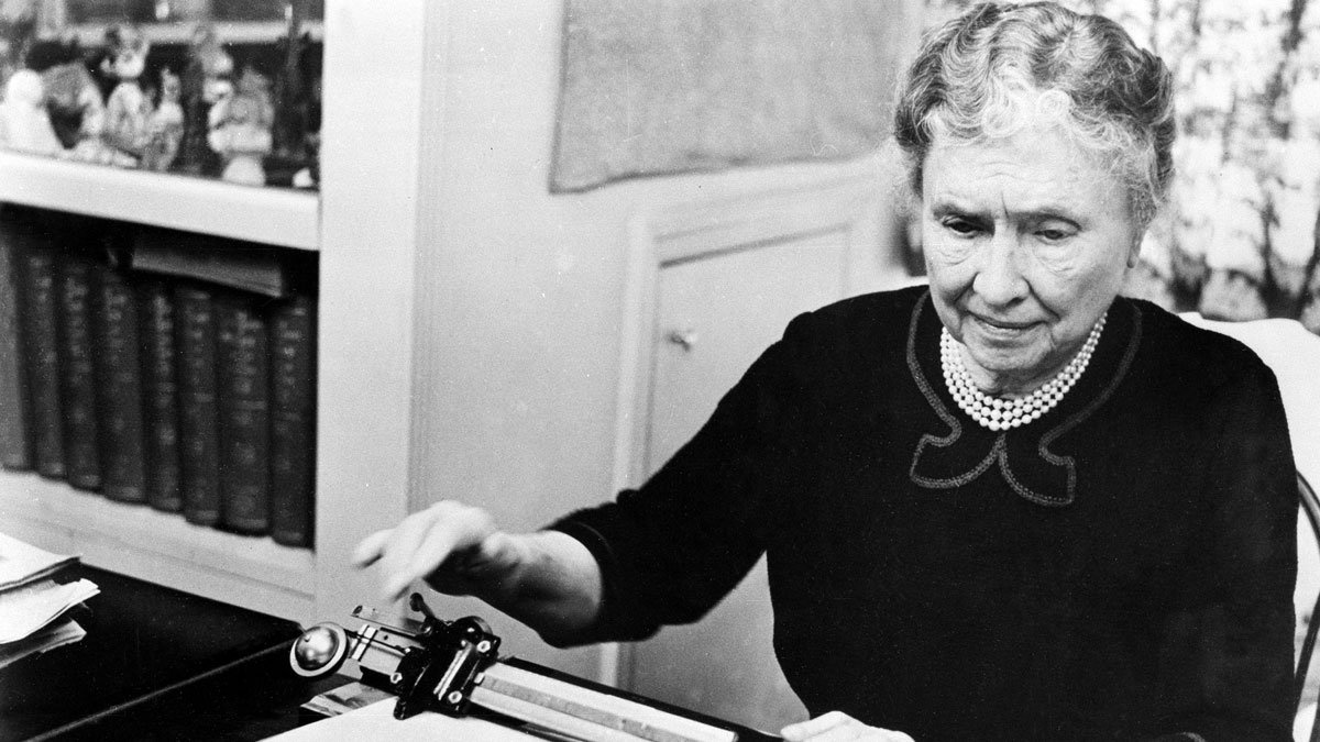 Author and humanitarian Helen Keller, who is deaf and blind since childhood, is shown during her documentary film,