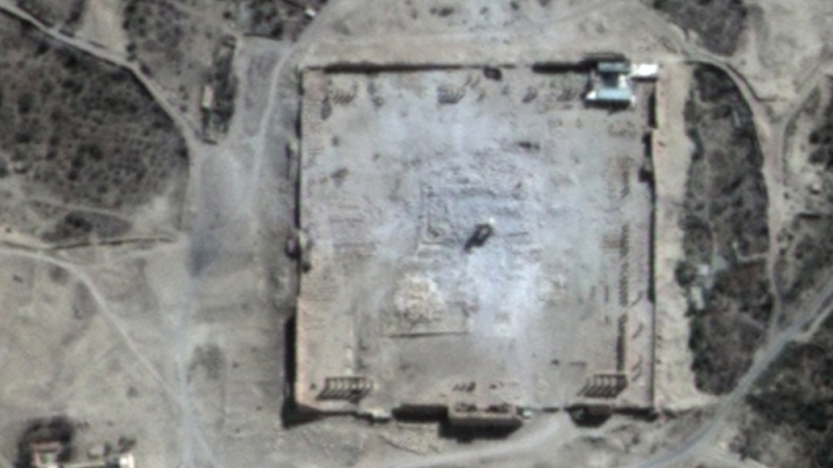 This Monday, Aug. 31, 2015 satellite image provided by UNITAR-UNOSAT shows damage to the main building of the ancient Temple of Bel in the Palmyra, Syria. The main building has been destroyed, a United Nations agency said. The image was taken a day after a massive explosion was set off near the 2,000-year-old temple in the city occupied by Islamic State militants.