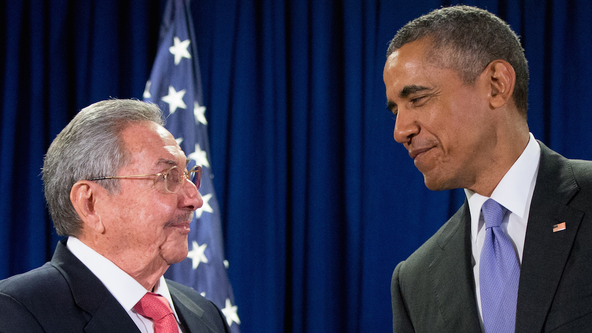 In this Sept. 29, 2015 file photo, President Barack Obama stands with Cuba's President Raul Castro before a bilateral meeting at the United Nations headquarters. The president is now staring down 11 months before his successor is chosen in an election shaping up to be a referendum on his leadership at home and abroad. He stirs deep anger among many Republicans, a constant reminder of his failure to make good on campaign promises to heal Washington's divisiveness. But he remains popular among Democrats and foresees a role campaigning for his party's nominee in the general election.