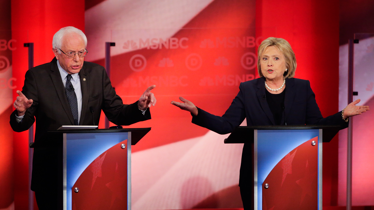 Democratic presidential candidate, Sen. Bernie Sanders, I-Vt, and Democratic presidential candidate, former Secretary of State Hillary Clinton spar during a Democratic presidential primary debate hosted by MSNBC at the University of New Hampshire Thursday, Feb. 4, 2016, in Durham, N.H.