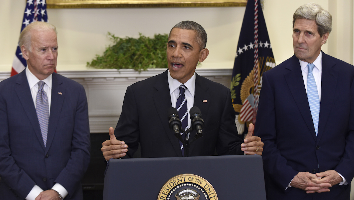 President Barack Obama, accompanied by Vice President Joe Biden and Secretary of State John Kerry, announce he's rejecting the Keystone XL pipeline because he does not believe it serves the national interest, Friday Nov. 6, 2015, in the Roosevelt Room of the White House in Washington.