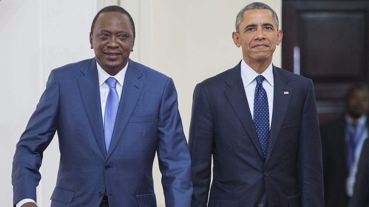 President Barack Obama, right, arrives with Kenyan President Uhuru Kenyatta for a bilateral meeting at State House, on Saturday, July 25, 2015, in Nairobi, Kenya. Obama heralded Africa as a continent