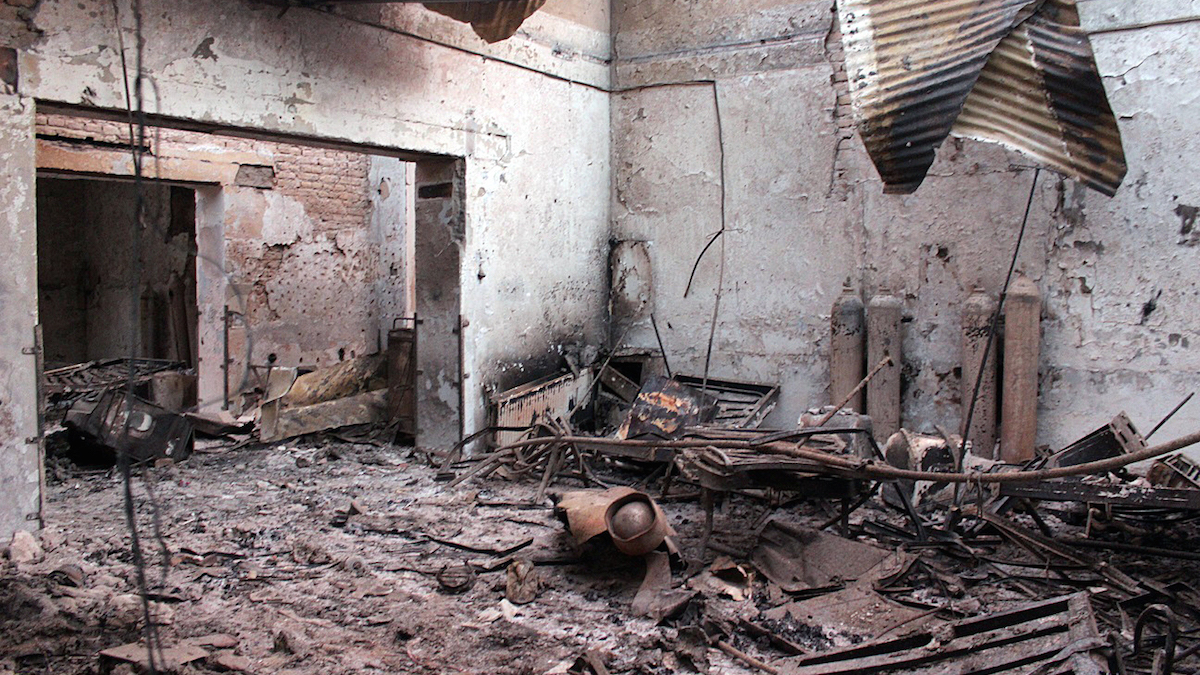 In this Oct. 16, 2015, file photo, the charred remains of the Doctors Without Borders hospital is seen after being hit by a U.S. airstrike in Kunduz, Afghanistan.