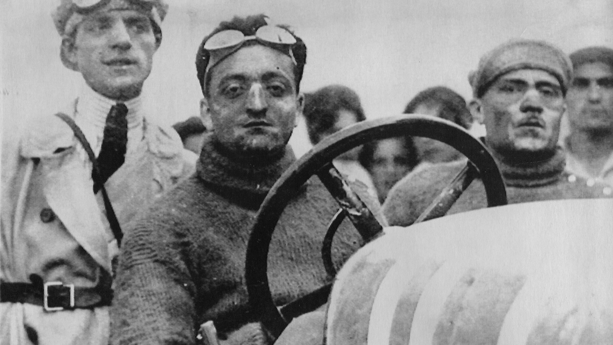 In this 1921 file photo, Enzo Ferrari is pictured in an Alfa Romeo ES, at the Mugello Circuit in Tuscany, Italy. Ferrari's body was the centerpoint of a bizarre kidnapping plot foiled by Italian police on Tuesday, March 29, 2017.