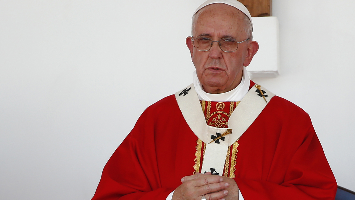 Pope Francis stands on the altar during a Mass in the Plaza of the Revolution, in Holguin, Cuba, Monday, Sept. 21, 2015.