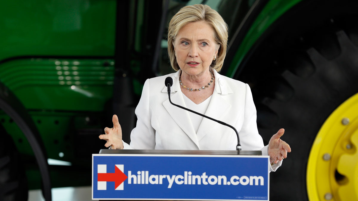 Democratic presidential candidate Hillary Rodham Clinton speaks about rural issues at the Des Moines Area Community College, Wednesday, Aug. 26, 2015, in Ankeny, Iowa.