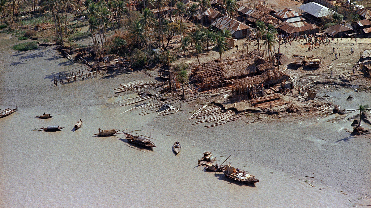 This is an aerial view of devastation in the aftermath of the cyclone that hit the Bay of Bengal in Bangladesh, then East Pakistan, Nov. 1970. According to the World Meteorological Organization, the cyclone, which killed more than 300,000 people, is the deadliest cyclone recorded by the organization since its inception in 1873.