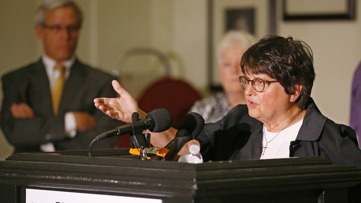 Sister Helen Prejean, a death penalty opponent, speaks during a news conference in Oklahoma City. Looking on at left is Don Knight, one of the defense attorneys for Richard Glossip. Glossip is scheduled to be executed on Wednesday, Sept. 16, 2015, and his defense team is asking for a stay while they search for evidence in the case.