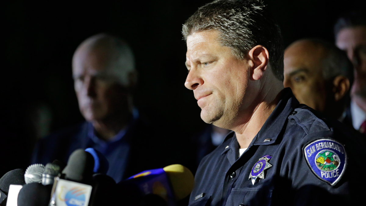 San Bernardino Police Lt. Mike Madden, who was one one of the first officers on scene, describes his experience during a news conference near the site of a mass shooting on Thursday, Dec. 3, 2015 in San Bernardino, Calif.  A husband and wife opened fire on a holiday banquet, killing multiple people on Wednesday. Hours later, the couple died in a shootout with police.