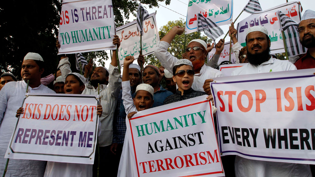 Indian Muslims shout slogans during a protest against ISIS, an Islamic State group, and the Nov. 13 attacks in Paris, in the eastern Indian city of Bhubaneswar, Friday, Nov. 20, 2015.