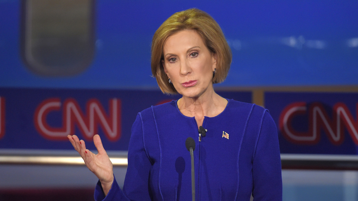Republican presidential candidate, businesswoman Carly Fiorina makes a point during the CNN Republican presidential debate at the Ronald Reagan Presidential Library and Museum on Wednesday, Sept. 16, 2015, in Simi Valley, Calif. (APPhoto/Mark J. Terrill)