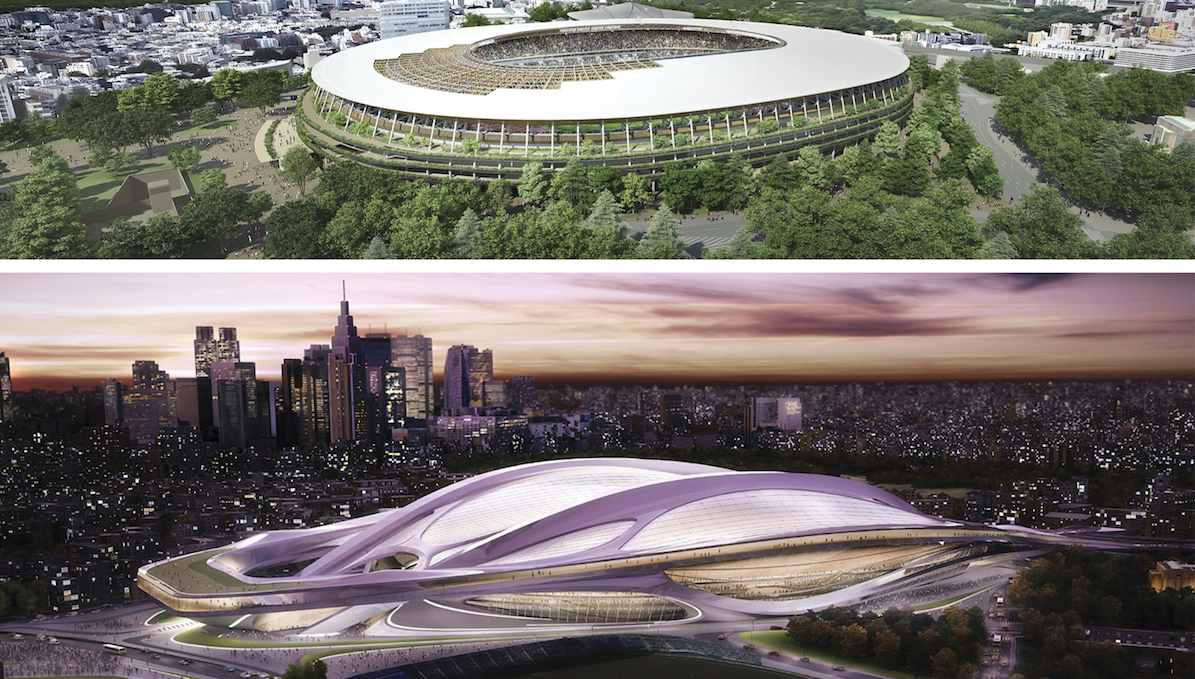 This combination of artist renderings provided by the Japan Sports Council shows the original design by British-Iraqi architect Zaha Hadid, bottom, of the new stadium for the 2020 Tokyo Olympics selected on Nov. 16, 2012 but was later scrapped due to controversy over its cost and scale, and the newly selected plan, top, announced by Prime Minister Shinzo Abe Tuesday, Dec. 22, 2015.