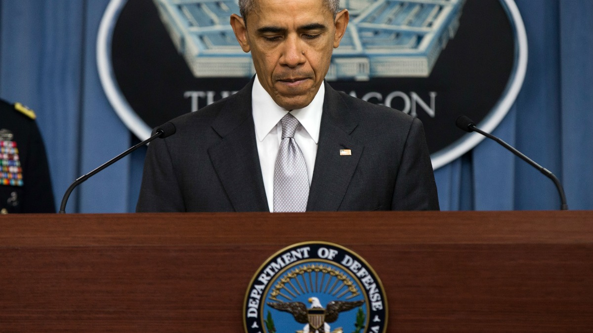 President Barack Obama pauses while speaking at the Pentagon, Monday, Dec. 14, 2015