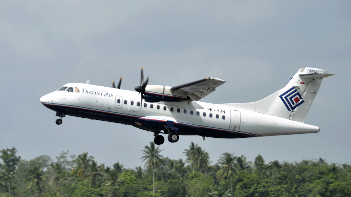 In this file photo taken Dec. 26, 2010, Trigana Air Service's ATR42-300 twin turboprop plane takes off at Supadio airport in Pontianak, West Kalimantan, Indonesia.