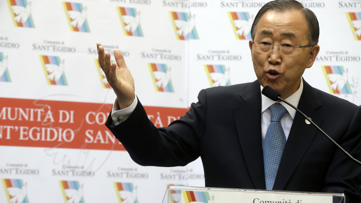 United Nations Secretary-General Ban Ki-moon talks during his visit to a shelter run by the Saint Egidio Catholic NGO, in Rome. He will travel to the Middle East to visit Israel and Palestine on Tuesday.
