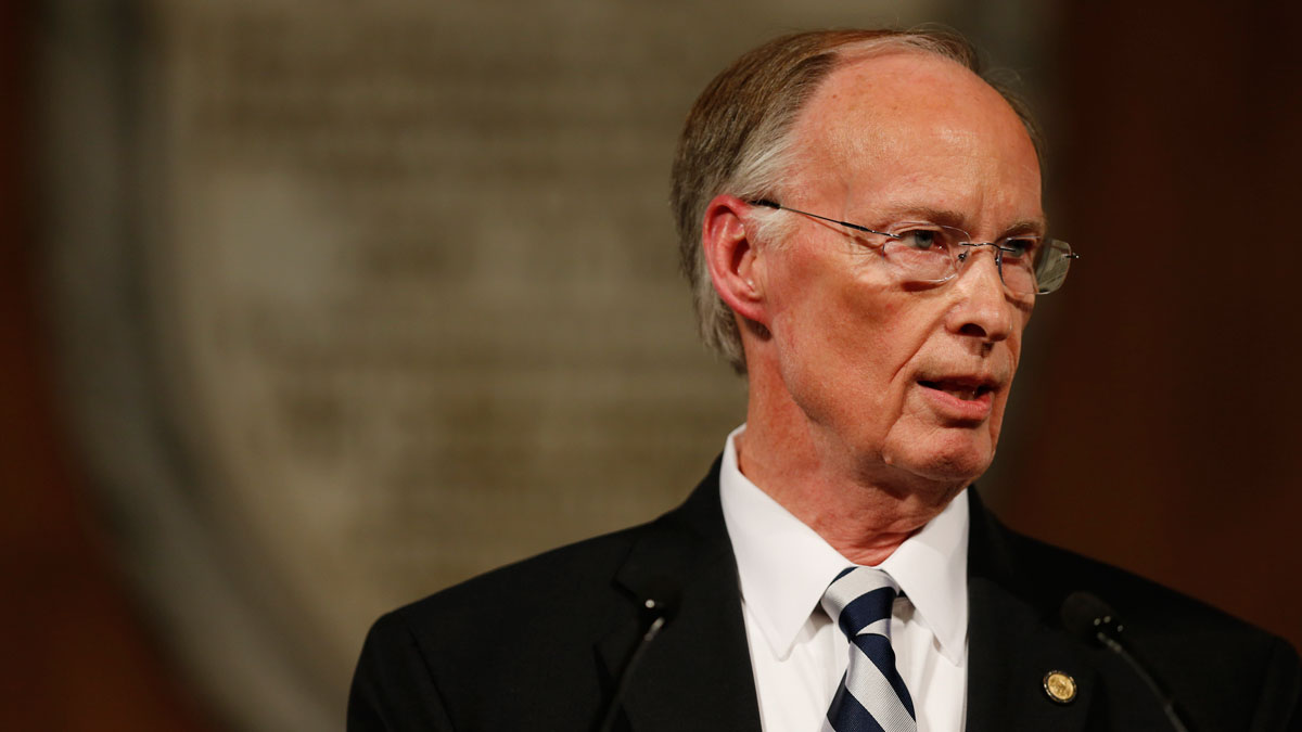 Alabama Gov. Robert Bentley gives his annual State of the State address at the Capitol, Tuesday, Feb. 2, 2016, in Montgomery, Ala.