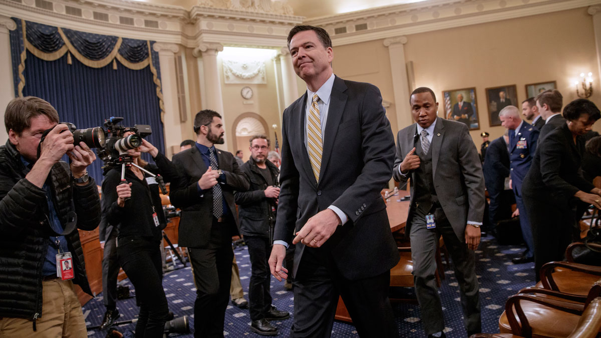 FBI Director James Comey takes a break after three hours of testifying on Capitol Hill in Washington before the House Intelligence Committee hearing on allegations of Russian interference in the 2016 U.S. presidential election, March 20, 2017.